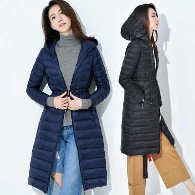Новинка 2018, стильная зимняя куртка, пуховое пальто для женщин, тонкое, с капюшоном, средней длины, на утином пуху, пальто для женщин, одноцветные, женские парки