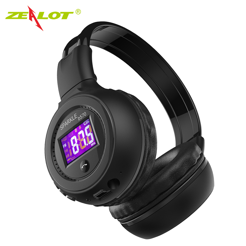 Zealot B570 headset LCD Foldable On-ear Wireless Stereo Bluetooth V4.0 Headphones with FM Radio TF Card MP3 For Smart Phone memteq cool on ear lcd foldable headset wireless headphone earphone with fm radio tf card sport mp3 player