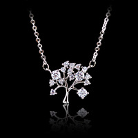 MANWIINecklace Korean Life Tree Tree Elite Necklace Zircon Upscale Rose Gold Lady Pendant Chainbone ChainAC229
