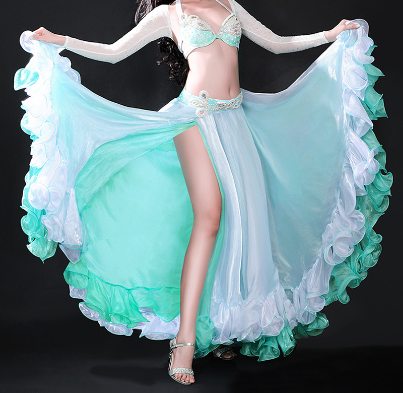 New Performance belly dance Costume Chiffon Slit Skirt Dress Bollywood Carnival