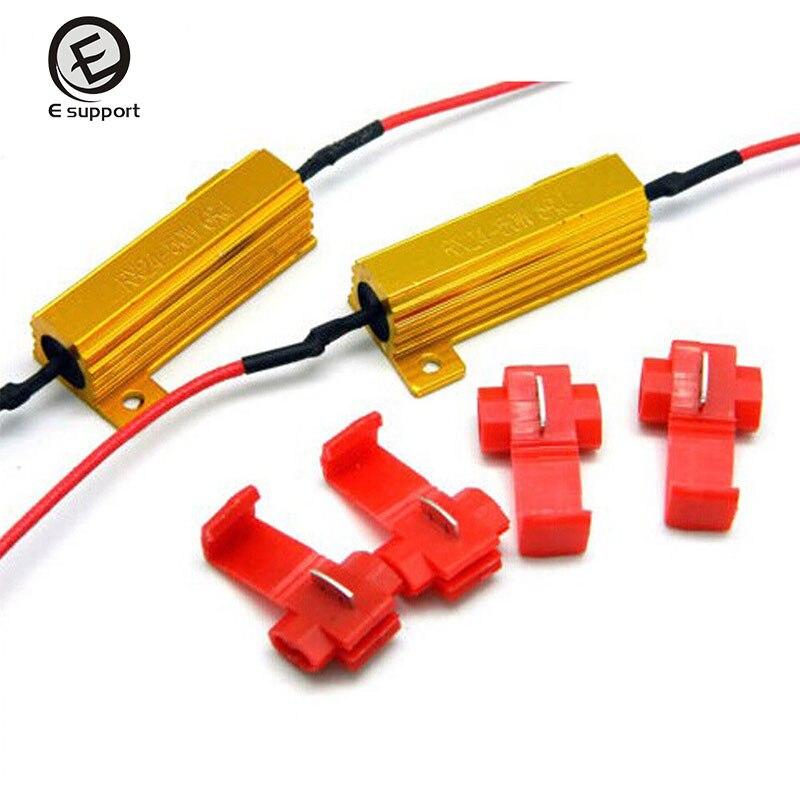 Wire 2pcs Safego 50w 6ohm Load Resistors For Fix Auto Car Led Bulbs Error Led Turn Signal Lights Hyper Flash Error Fix