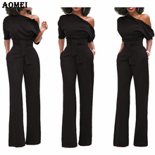 Women Jumpsuit One Shoulder with Sashes Pockets Officewear Romper Combinaison Fashion Female Jumpsuits For Elegant Lady Clothing