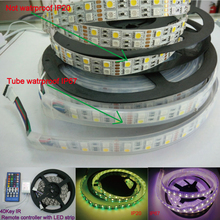 5M 120led/m Double Row Non waterproof 5050 SMD RGBW (RGB+white) RGBWW (RGB+Warm White) Flexible LED Strips DC12V 5M 600LEDs New