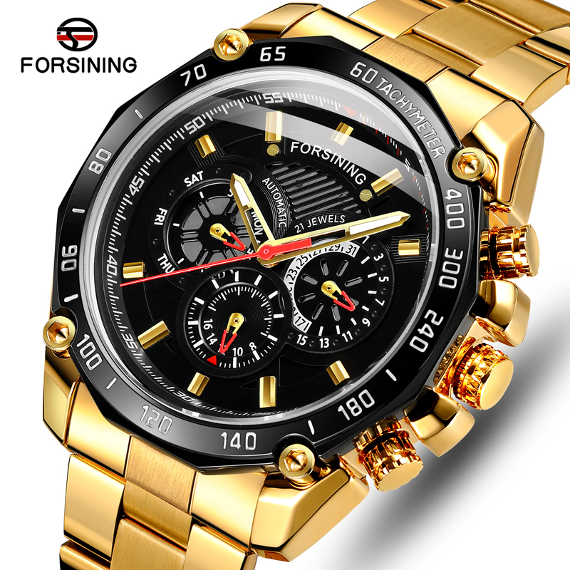 FORSINING Top Brand Men's Self Winding Mechanical Watches Men Luxury Business Watch Male Fashion Gold Black Automatic Wristwatch
