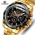 Reloj de pulsera automático dorado y negro para hombre, reloj de negocios de lujo, relojes mecánicos de cuerda automática, de marca superior, para hombre