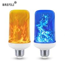 Светодиодный светильник с 4 режимами, желтый/синий, огненный светильник, 9 Вт, E27, E26, светодиодный светильник с эффектом пламени, лампа для украшения дома и сада, светильник s AC 85-265V