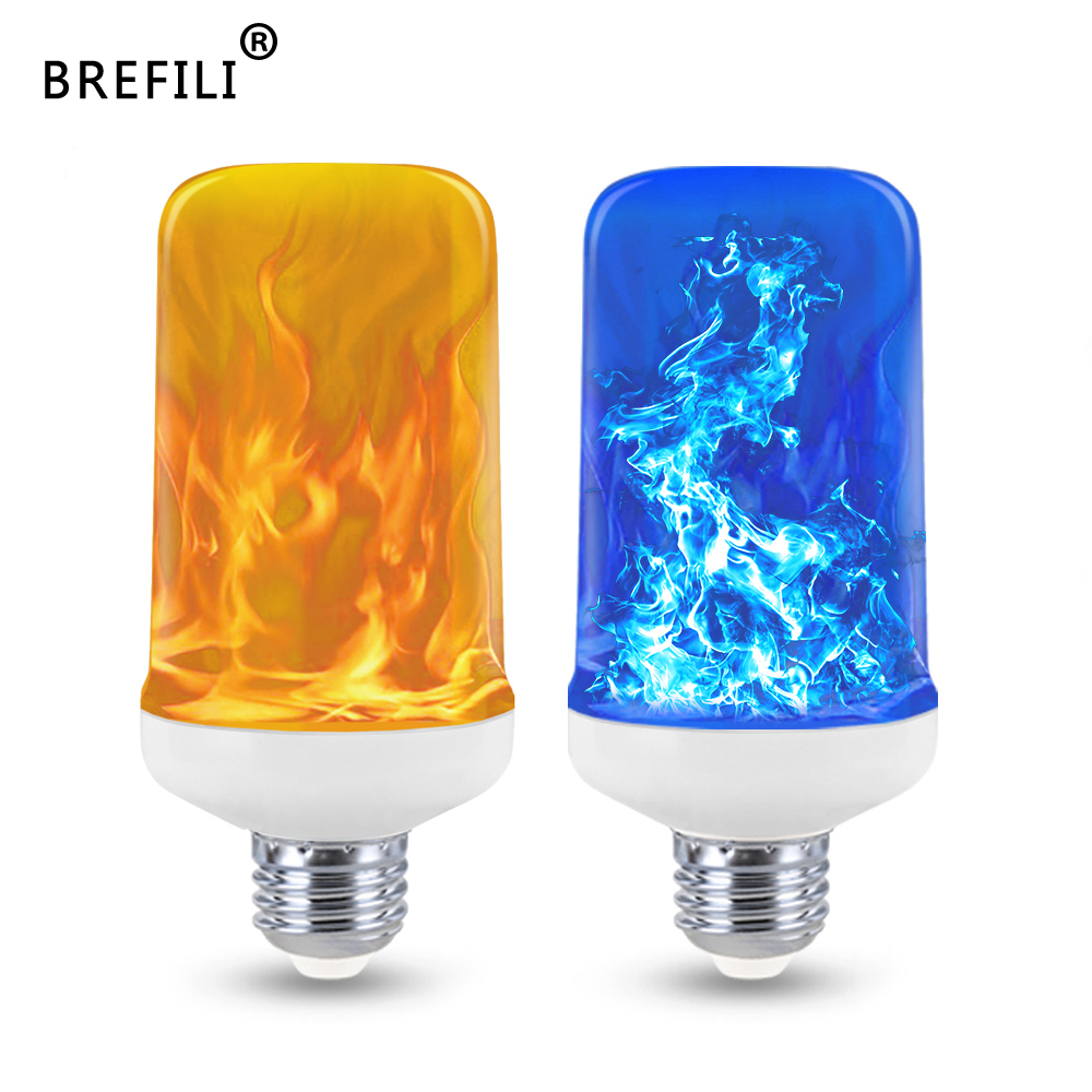 New 4 Modes LED Flame Lamp Yellow/Blue Fire Light 9W E27 E26 LED Flame Effect Light Bulb For Home Garden Decor Lights AC 85-265V