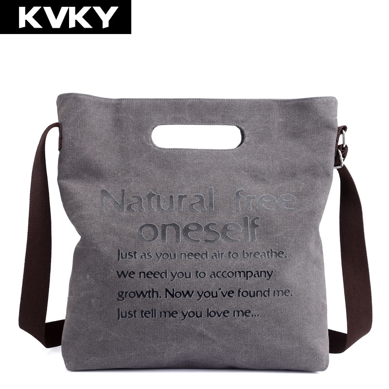 KVKY Brand Canvas Women Handbags Letter Printing Female Messenger Bag Female Shoulder Bags Casual Ladies Tote Bags Shopping Bag цена