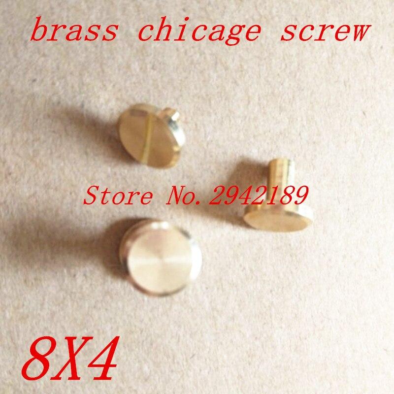50 компл. 8*4 мм falt, латунь Чикаго Заклёпки шпильки винт Screwback для кожи Craft Сумки Обувь