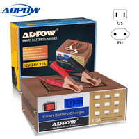ADPOW 12V 24V Battery Charger Car 110V To 250V Intelligent Full Automatic Car Power Charging Lead Acid Battery LCD Display