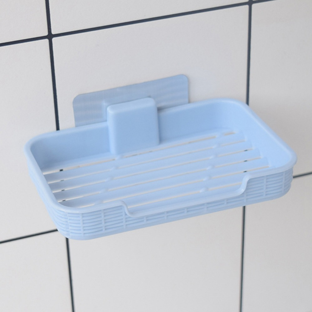 Plastic Drain Soap Box Holder Strong Sucker Soapbox Bathroom Accessories Soap Dish Storage Basket Box