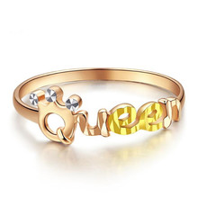 100% 18K Gold Finger Rings For Women with Letter Queen Rose 2 Colors Ring Jewelry New Birthday Gift