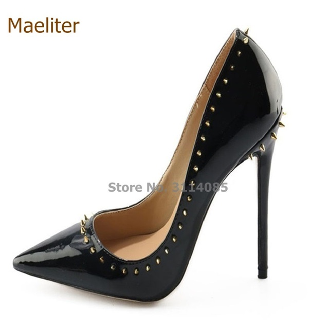 Women Sexy Black Shiny Patent Leather Pointy Toe Pumps Rivets Stiletto  Heels Nightclub Girls Dress Shoes Trendy Wedding Pumps bcc06ab49691