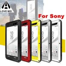 Aşk MEI su geçirmez alüminyum Metal zırh vaka Sony Xperia 10 artı 1 Z5 X XZ XA1 XA2 Ultra XZ1 XZ2 kompakt 5 XZ3 kapak