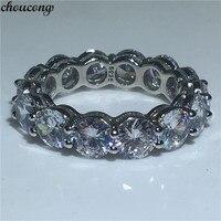 Choucong Классический Обручальное кольцо Круглый 6 мм 5A Циркон Сона Cz 925 пробы серебро Обручение кольца для Для женщин Для мужчин палец ювелирны