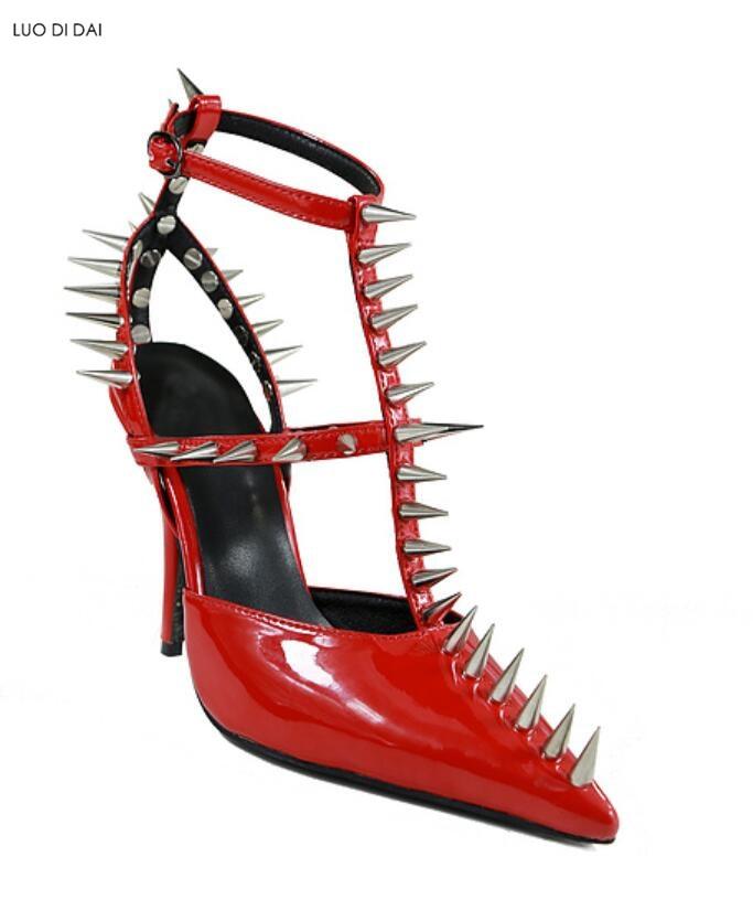 2019 Pompes Talon Rock Rivets À Rouge Hauts De Talons Goujon Mince Chaussures Style Femmes Pic Point New Habillées Soirée zr0Cwqz
