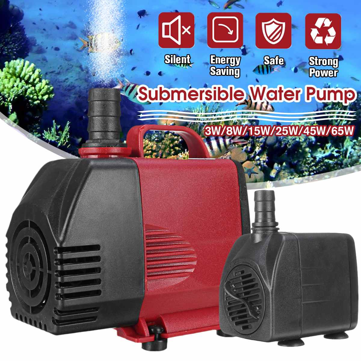 Adjustable Flow <font><b>Water</b></font> <font><b>Pump</b></font> Fish Tank Submersible Fountain Aquarium Pond Ultra-Quiet Silent <font><b>Pump</b></font> 3/8/15/25/45/65W 50Hz image