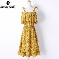 SunnyYeah Chiffon Summer Dress Women Casual 2018 New Arrivals Floral Print Dresses Ladies Ruffle Bohemian Dress