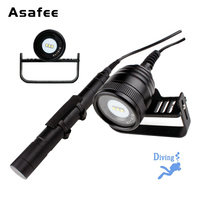 Asafee DIV10V Canister Dive Video Light Magnetic Switch Underwater 200M 3*CREE XM L2 LED Diving Photography Flashlight Light
