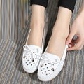 Breathable Hollow-out Round Toe Women's Flats 2017 New Ladies Singles Shoes Blue White Black Comfortable All-match Footwear