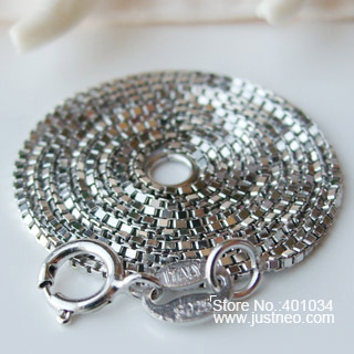 0.8mm*16inch solid 925 sterling silver box chain necklace with spring clasp and silver hallmark tag, , 1 piece