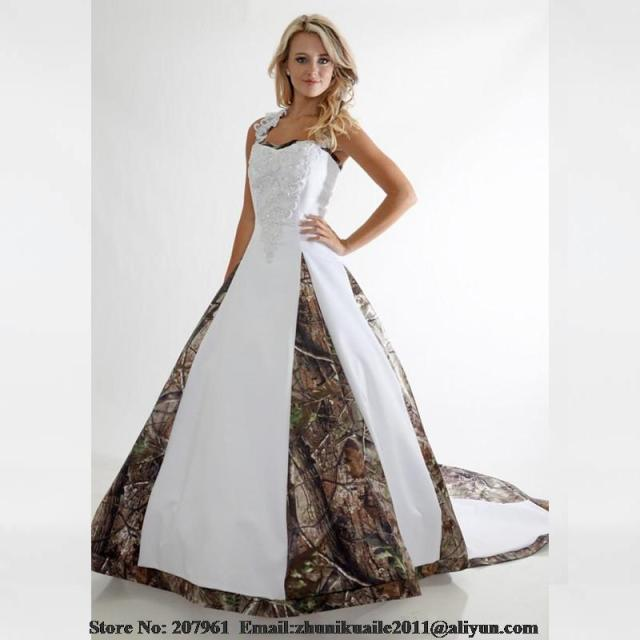 White Camo Wedding Dresses 2016 Scoop A line with Appliques beads ...