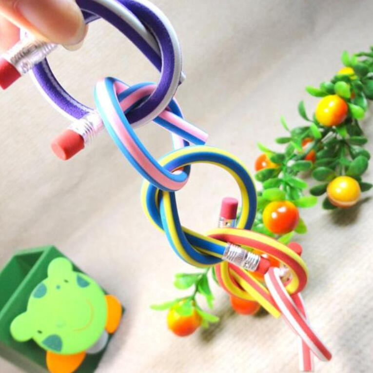 60pcs/lot Wholesal colorful Deformable soft Flexible Pencil Promotion Gift The pencil can be bent students' kawaii gift prize