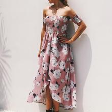 VZFF Boho Pink Off Shoulder Botanical Print Maxi Floral Dress High Waist Modern Lady Women Dresses