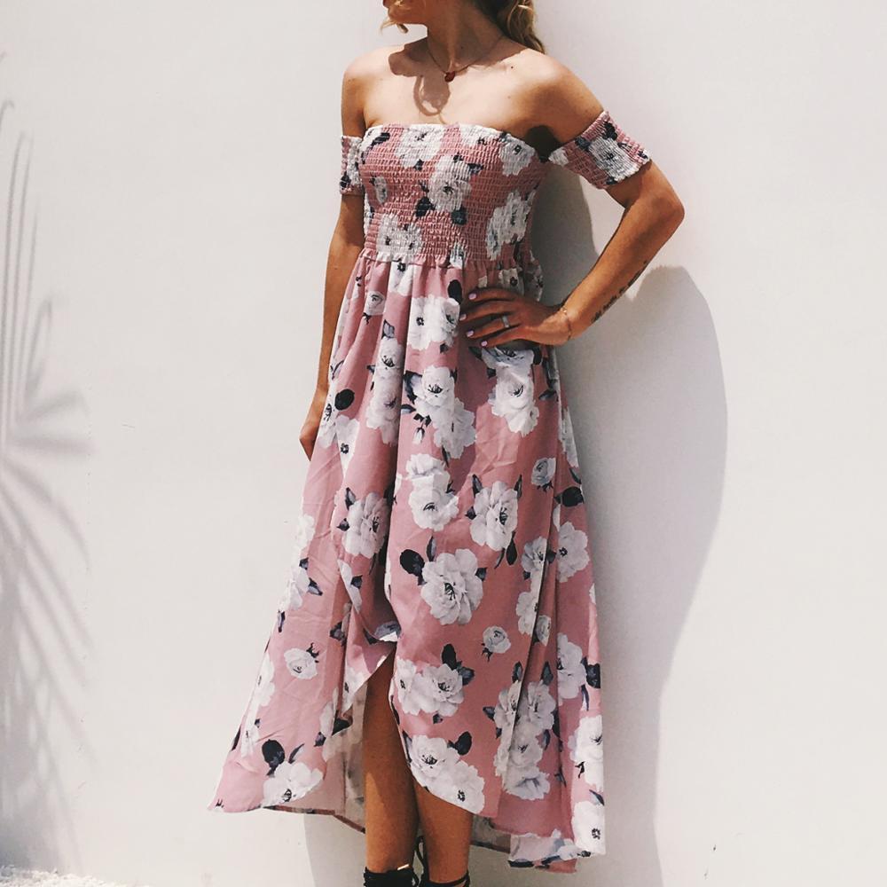 Wholesale New Fashion Off Shoulder Long Western Summer Women Beach Dress