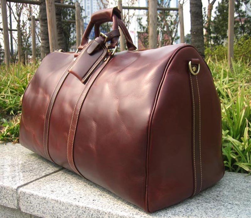 New Men S Women Uni Large Leather Duffle Travel Bag Luggage Carry On Overnight Bags Suitcases Weekend In From