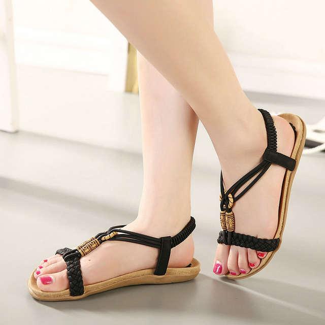7484e5c3ff97 UMMEWALO Sandals Women Casual Thong Sandals String Beed Designer Elastic  Band Ladies Summer Gladiator Sandal Shoes