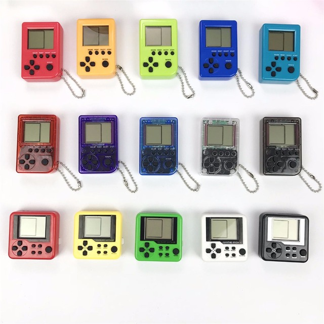 Tetris Mini Child video Game Console capsule toy twisted egg Built-in 26 Games Use for Key Chain Ring Holder Kids Gift