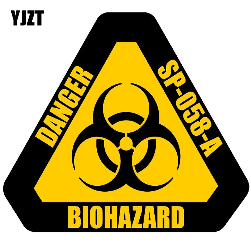 YJZT 12CM*10.7CM DANGER BIOHAZARD Sign Warning Mark Personality Car Sticker Reflective Motorcycle Parts C1-7558