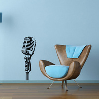 Free Shipping Wall Stickers Wholesale And Retail Wall Decor PVC Material Decals Wallpaper Mural Microphone Music