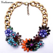 2015 New Fashion XG206 Same Brand Za Vintage Necklaces & Pendants Multi-color Flower Statement Necklaces Gold Tone Chain Jewelry