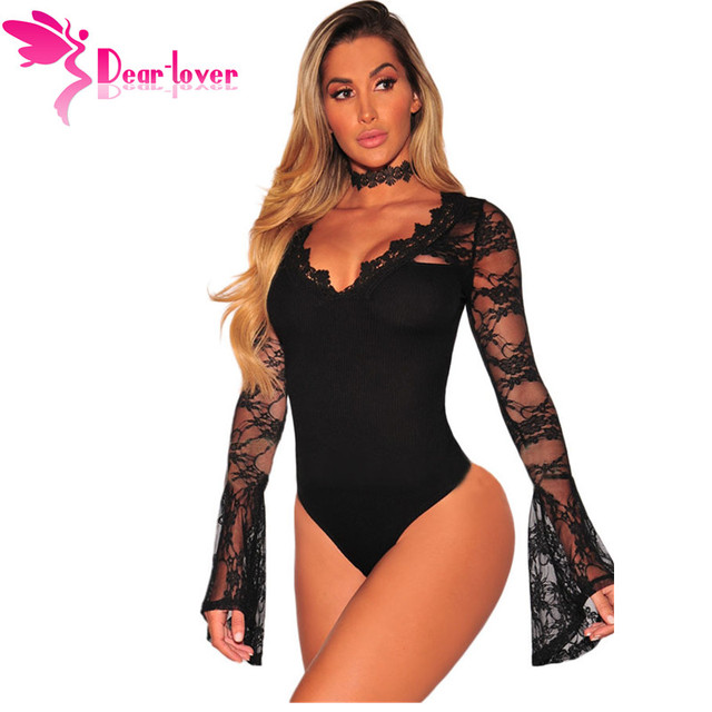 bde4292085 Dear Lover Women Lace Bodysuit Sexy Deep V-Neck Flare Sleeve Playsuit  Romper Ladies Long Sleeve Hollow Out Body Suit Overall