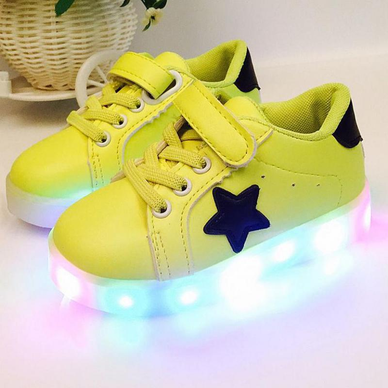 2017 New Baby Shoes Boys Girls Glowing Sneakers PU Leather Children Shoes With Lights Kids Led Flashing Shoes Toddler Shoe 21-30