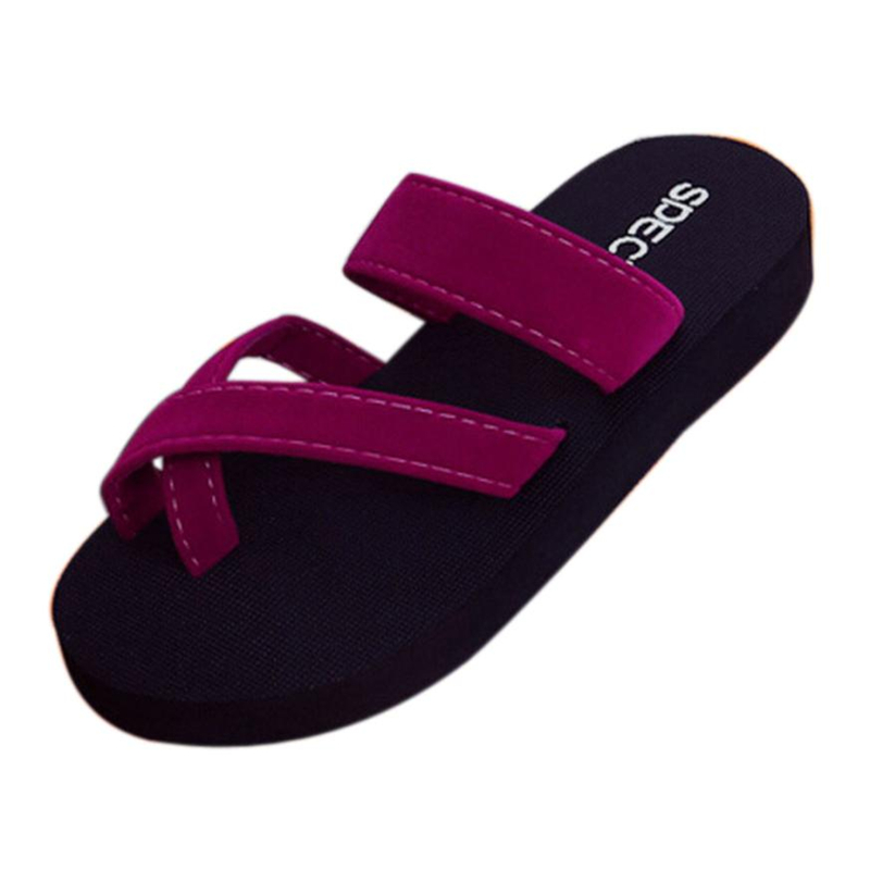 shoes woman flip flops Womens Summer Flip Flops Casual Slippers Flat Sandals Beach Open Toe Shoes flip flops women beachA0511#30 black red green pink summer sheepskin woman platform flip flops slippers thick high heels beach sandals for women open toe shoes