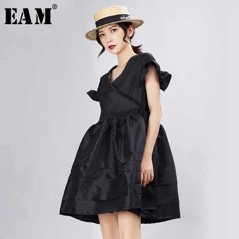 [EAM] 2020 New Spring Summer V- Neck Short Sleeve Ruffles Split Joint Loose Temperament Dress Women Fashion Tide JX341