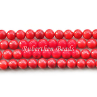 Ruberthen Trendy Natural Stone Wholesale High Quantity Red Coral Loose Beads Stone Round Bead Best Jewelry Making Accessory