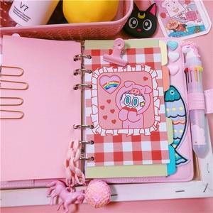 Image 2 - 2019 Pink Cute Notebook Notepad Kawaii Planner Gift Set PU Leather Creative School Supplies Journal Notebook Stationery