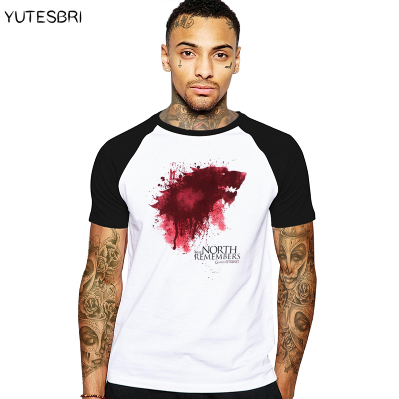 tshirt homme new game of thrones t shirt men cool the north remembers blood wolf t shirt men 39 s. Black Bedroom Furniture Sets. Home Design Ideas