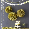 "Metallic Gold 10pc Mix 6""/8""/10"" Circle Garland &Tissue Pom Poms Paper Flower Balls Hanging Decor Showers Party Birthday Wedding"