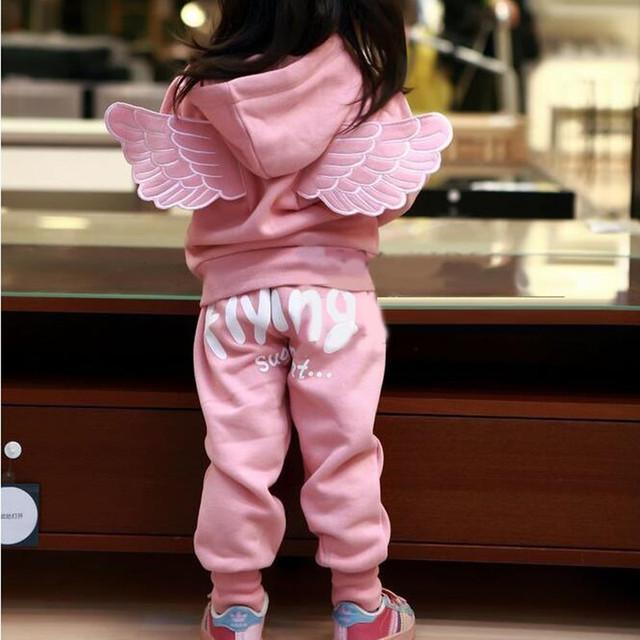 Asa meninas Agasalho Rosa/Cinza Cor do Revestimento & Calças Roupas Set Com Capuz Outwear Roupas de Inverno Para Crianças E Crianças Luva cheia