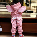 Girls Wing Tracksuit Pink/Grey Color Jacket & Pants Clothes Set Hooded Winter Outwear Clothes For Kids And Children Full Sleeve