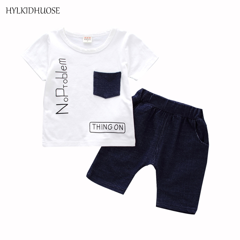 BOHUANA Summer Infant Cotton Clothes Sets Baby Girls Casusal Clothing Sets Sports T Shirt Stripe Shorts Children Kids Suits