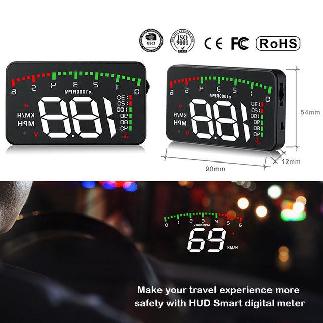 GEYIREN 3.5 A900 HUD Head-Up Display Car-styling Hud Display Overspeed Warning Windshield Projector Alarm System Universal Auto