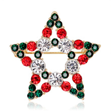 Trendy girl Brooch Imitation Pearl Rhinestone Christmas Star Brooch Pin for Woman Fashion Hat Scarf Corsage Jewelry Accessories rhinestones christmas hat brooch
