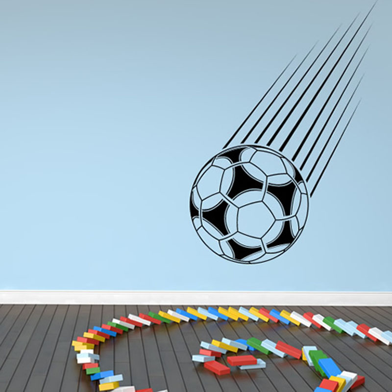 Hot Sale Sport Home Decor Falling Football Wall Sticker Kids Bedroom Vinyl Removable Hollow Out Self Adhesive Wall Mural