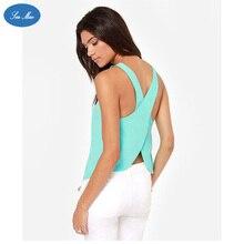 Sea mao New Fashion Summer Vest Women Sleeveless Backless Spaghetti Strap Cross Back Chiffon Sexy Casual Top Vest Camis shirt